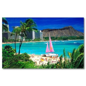Αφίσα (hawaii, διακοπές, κατάλυμμα, ακρογυαλιά, ηλιοθεραπεία, καλοκαίρι)